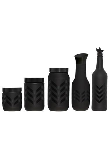 Herevin Beşli Zigzag Desen Cam Mutfak Seti Siyah
